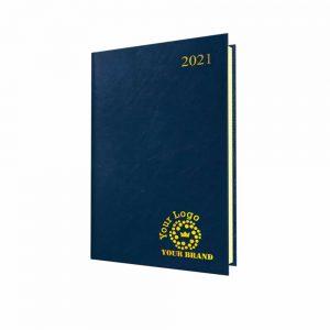 FineGrain Quarto Desk Diary Blue - Cream Paper - Week to View