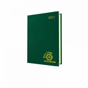 Deluxe FineGrain A5 Desk Diary Green - Cream Paper - Day per Page