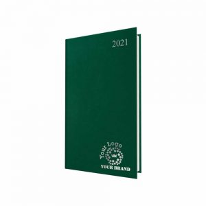 FineGrain Pocket Diary Green - White Paper - Week to View