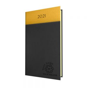 NewHide Horizon Pocket Diary Graphite/Yellow - Cream Paper - Week to View