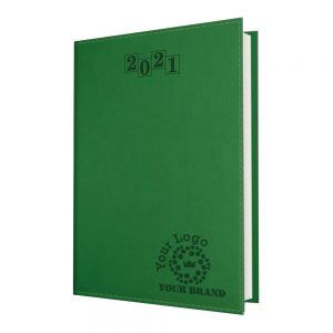 NewHide Flexible A5 Desk Diary Green - White Paper - Day per Page