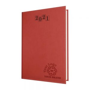 NewHide Flexible Quarto Desk Diary Red - White Paper - Week to View