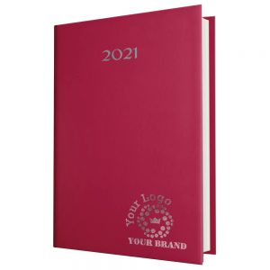 SmoothGrain A5 Desk Diary Burgundy - White Paper - Day Per Page