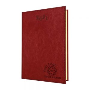 TopGrain Quarto Desk Diary Red - Cream Paper - Week to View